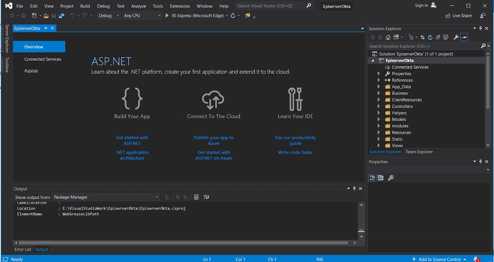 Visual Studio Episerver project ready