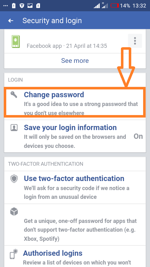 "Reset password using Facebooks mobile app: Select the ""Change Password"" next."