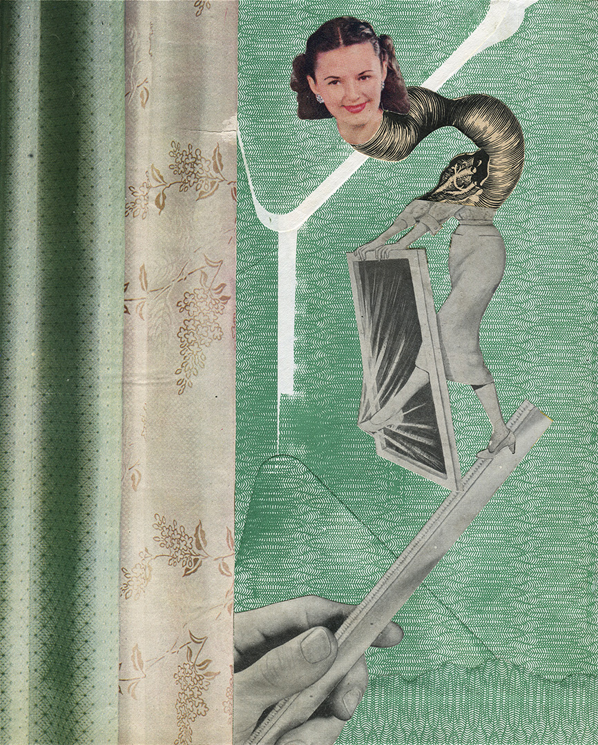 Large hand holding a ruler. On the ruler a woman is putting her foot through a window frame. Her neck is made from a long piece of medical illustration and a head is perched on top. The background is a green security envelope and fabric samples.