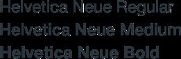 helvetica neue example in regular, medium and bold