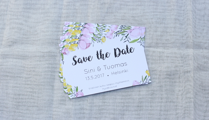 save the date card with hand painted flowers item thumbnail