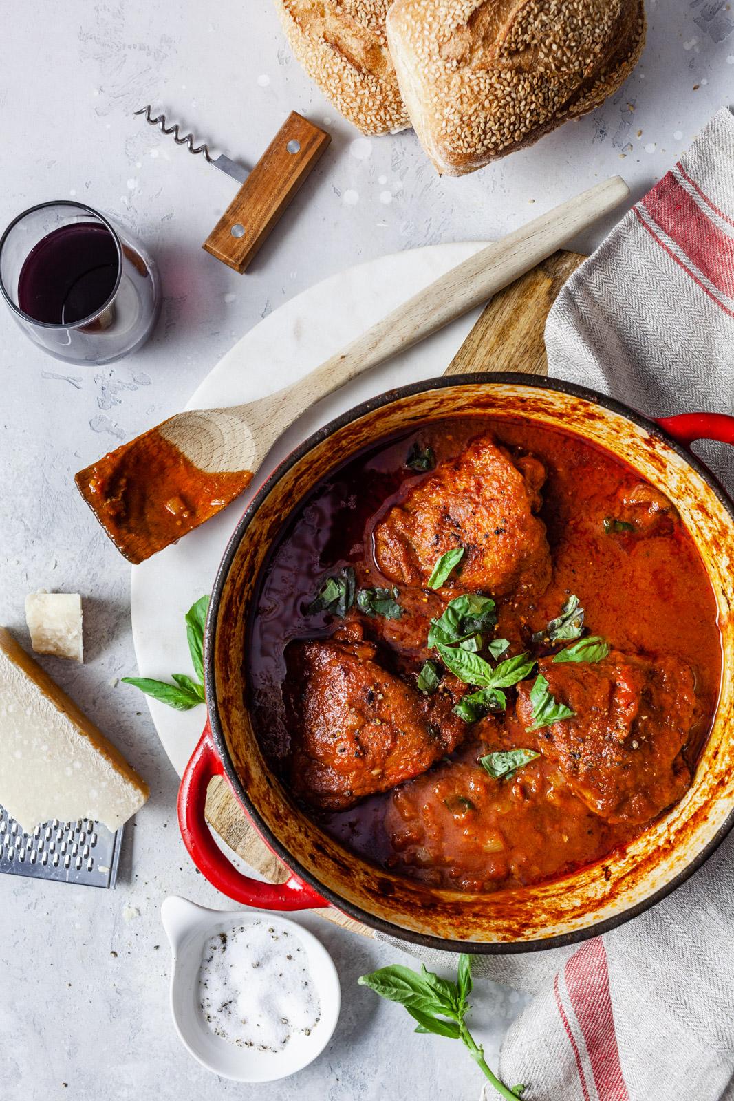 Greek Corfu Chicken and Bucatini (Pastitsada Korfiatiki)