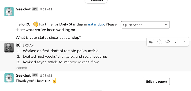 Slack Geekbot for daily standup