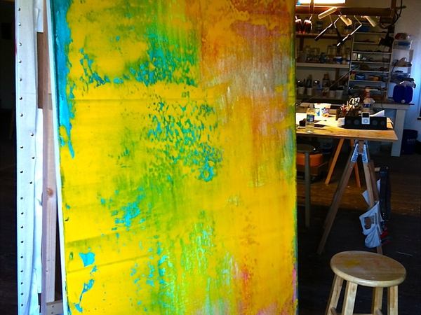 In the Studio Abstract Paintings in Progress
