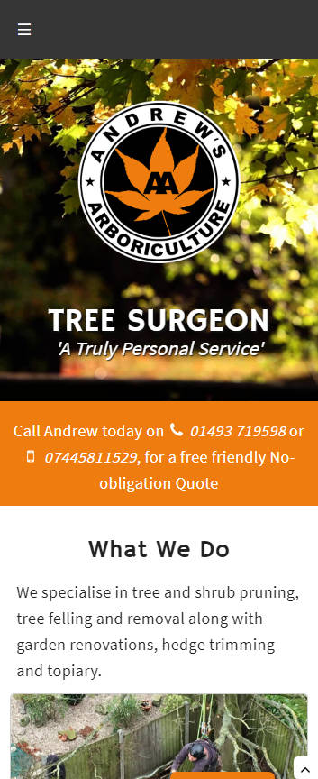 Andrews Arboriculture website frontpage on a mobile