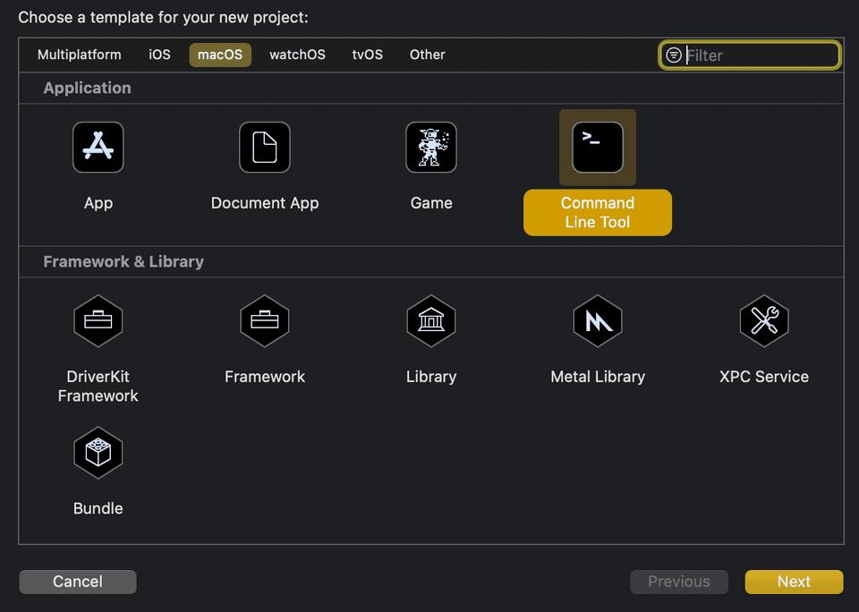 XCode select project selection menu
