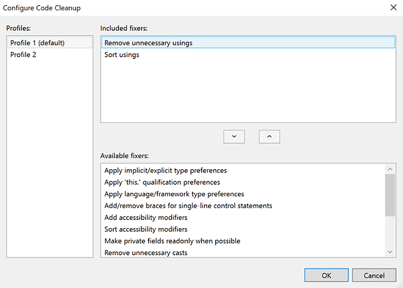 VS 2019 Code Cleanup configuration window