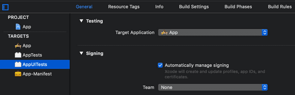 UI tests target with target application