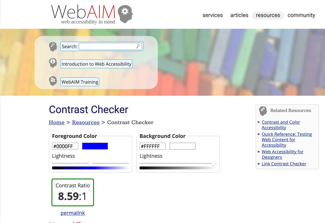 The WebAIM Contrast Checker.