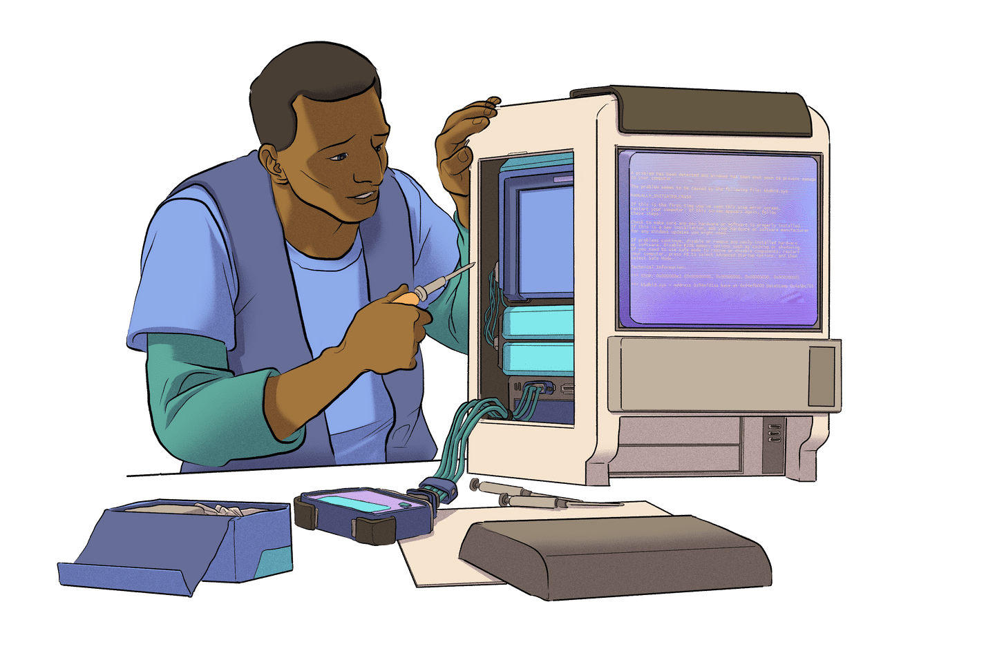Illustration of a person working on a computer.