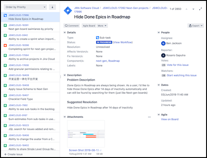example of a Jira feature request issue