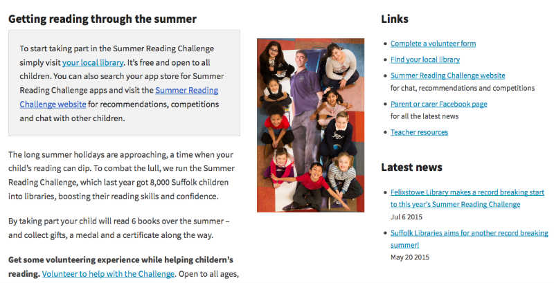 The Summer Reading Challenge page