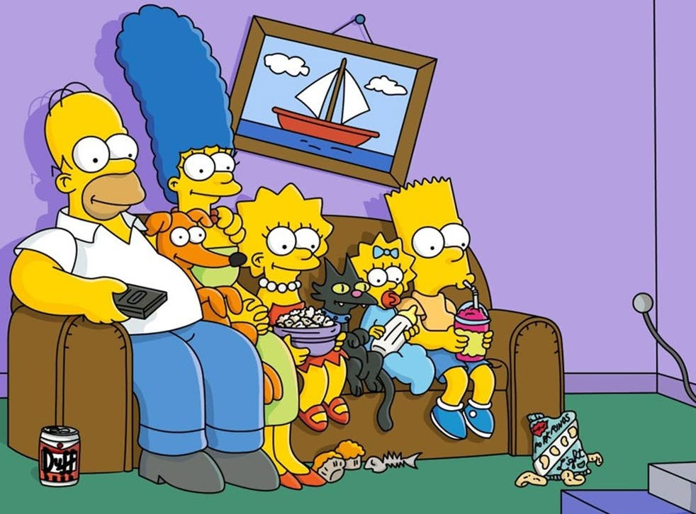Simpson cartoon characters watching television in the living room.