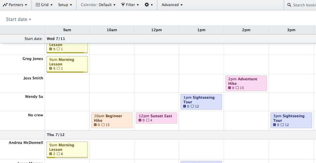 Screenshot of the Grid View showing a weekly schedule organized by day, time, and crew member.