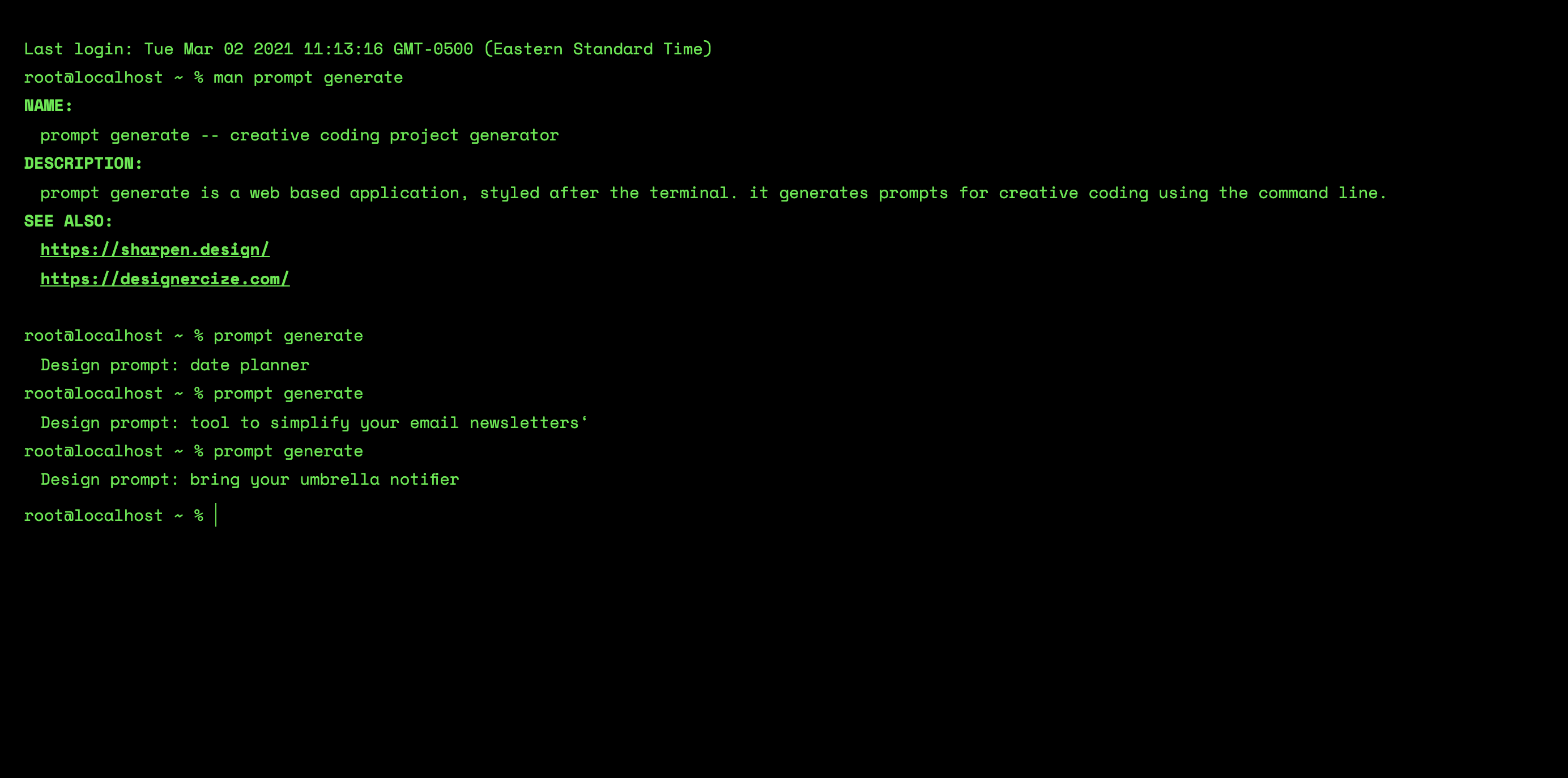 Screenshot of the Prompt generator, with the text prompt generate at the bottom and several prompt ideas listed out, including bring an umbrella notifier
