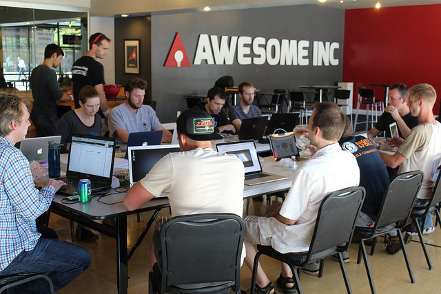 Awesome Inc U Web Developer Bootcamp students coding