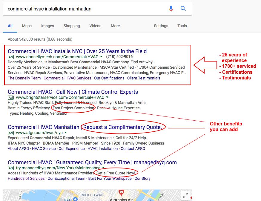 Screenshot of HVAC Google Ads