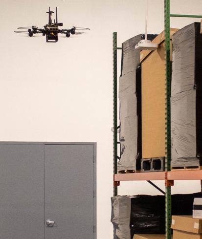 autonomous drone in a warehouse