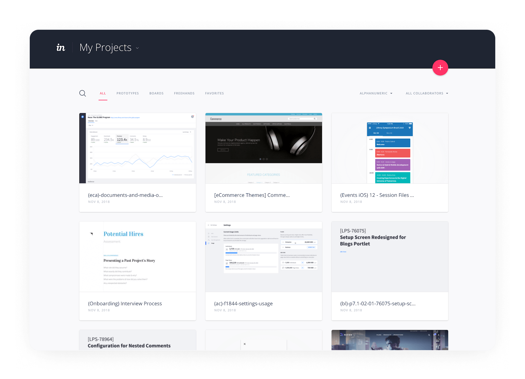 A variety of screens in Liferay's 'My Projects' InVision dashboard