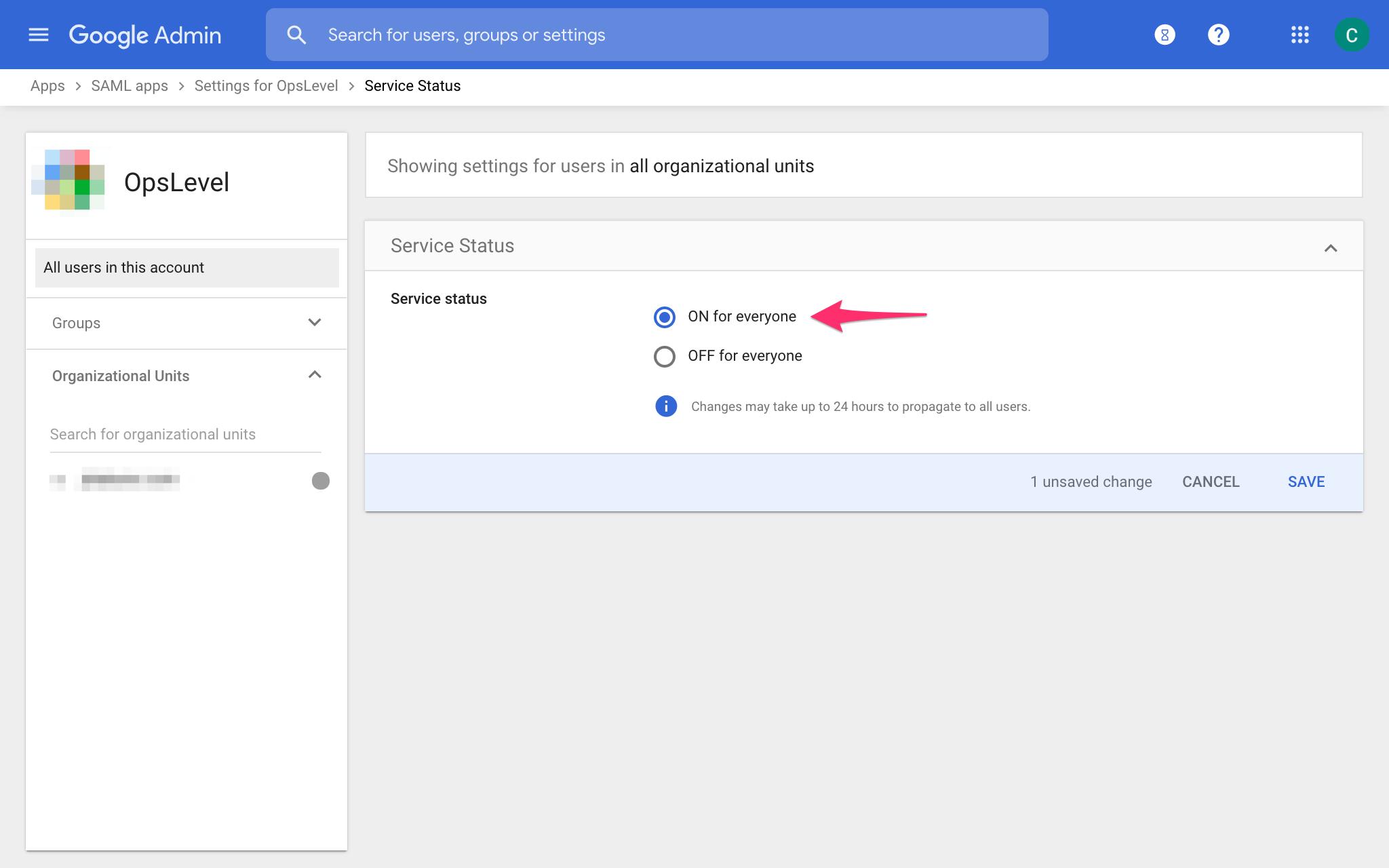 G Suite Enable App for Organization