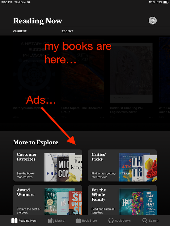 Ads displayed where my books should be