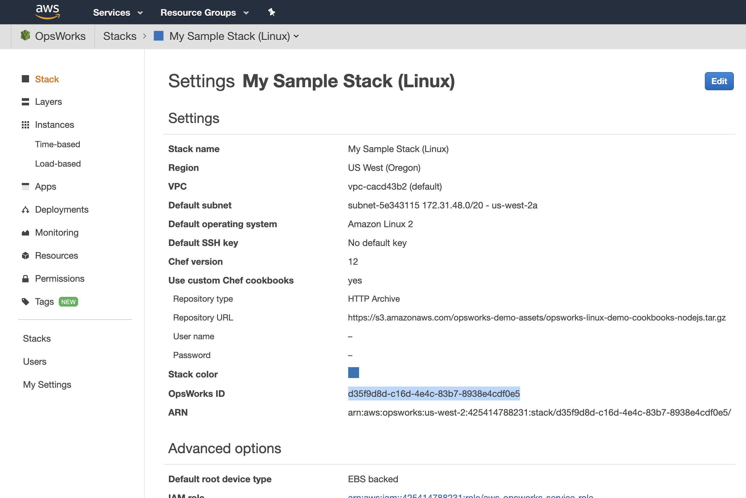 AWS Opsworks Stack Settings: OpsWorks ID describes the stack_id