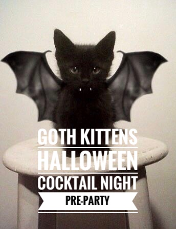 goth kittens halloween party invitation