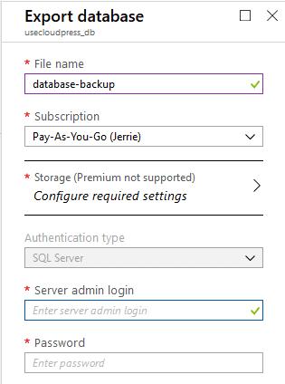export database settings