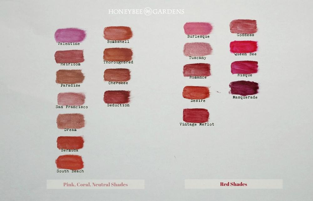 Honeybee Gardens Lipsticks Swatches