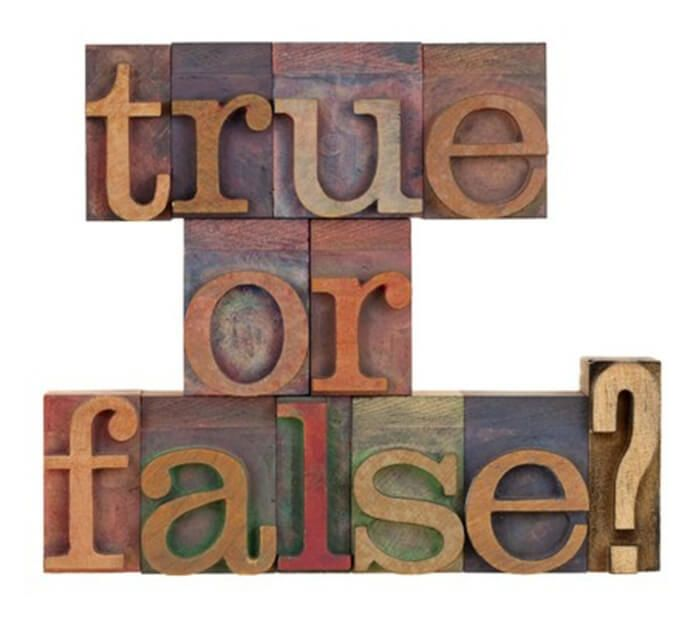 Wooden letters spelling True or False