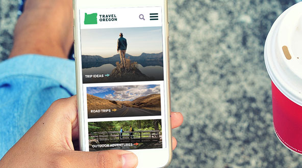 A smartphone view of the Travel Oregon website