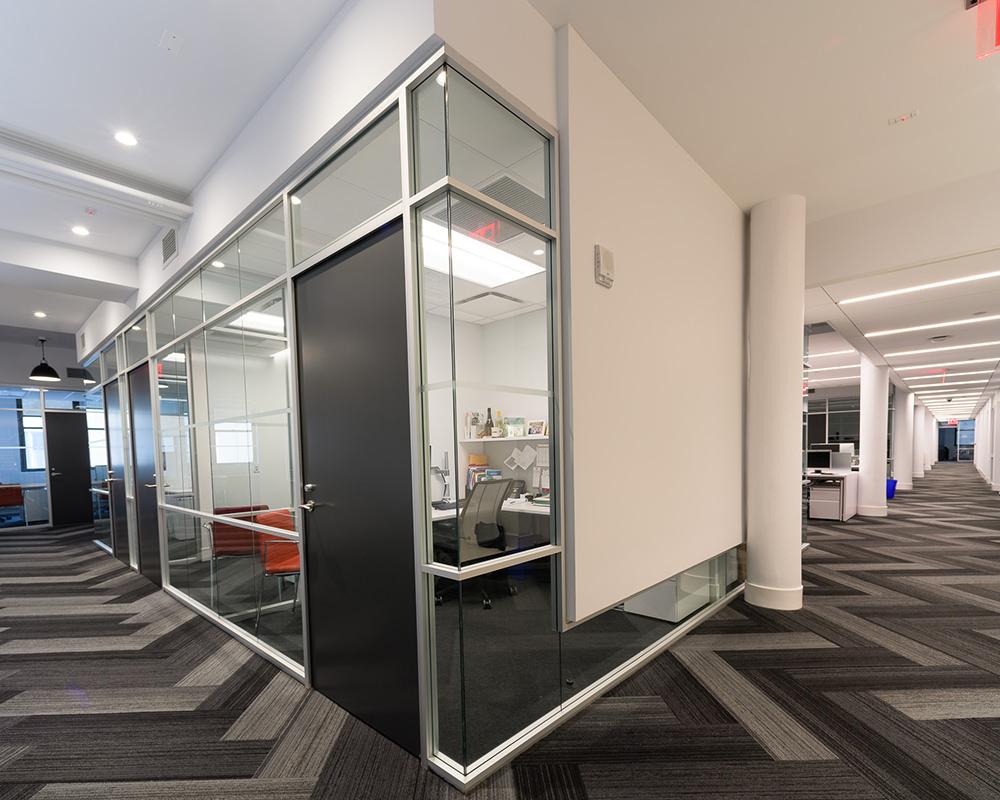 Office Hallway Corner with Glass Walls