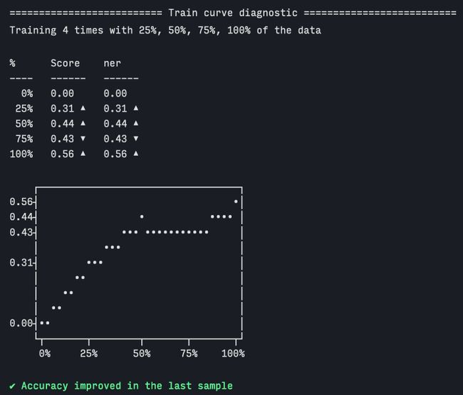 Screenshot of train curve terminal output