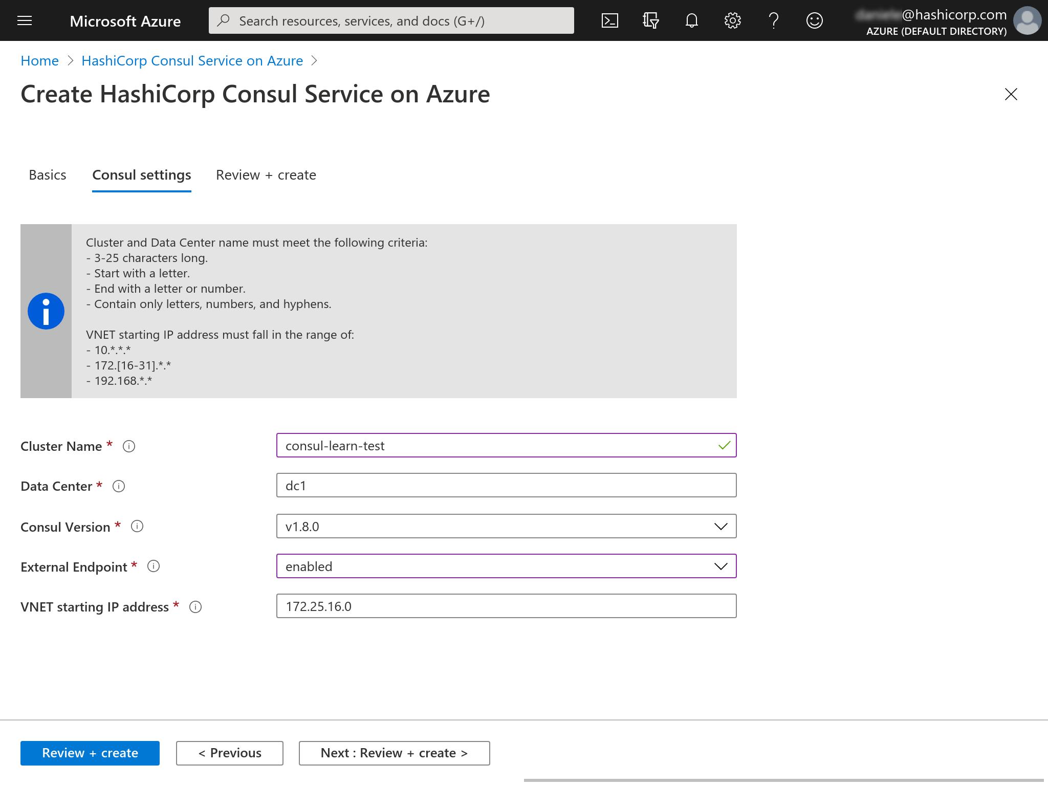 Azure Marketplace create HCS datacenter Consul tab