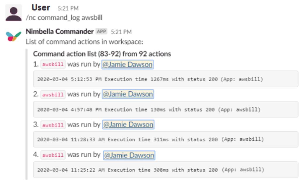 audit log of users who ran aws billing info in slack