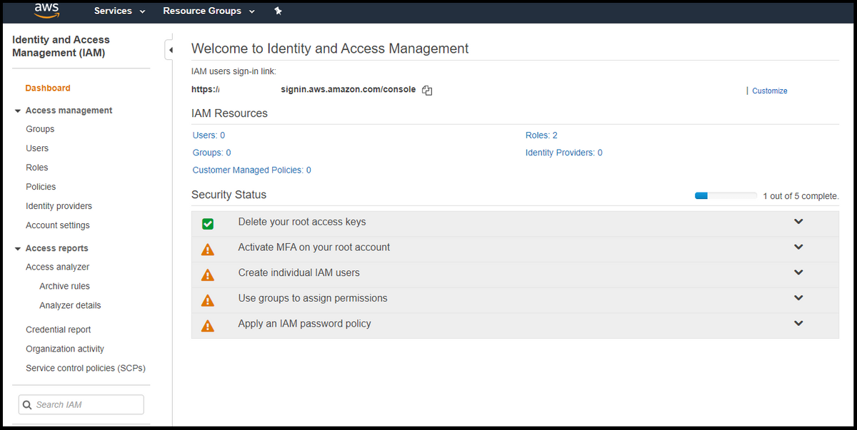aws access management page IAM to help display aws billing info in slack
