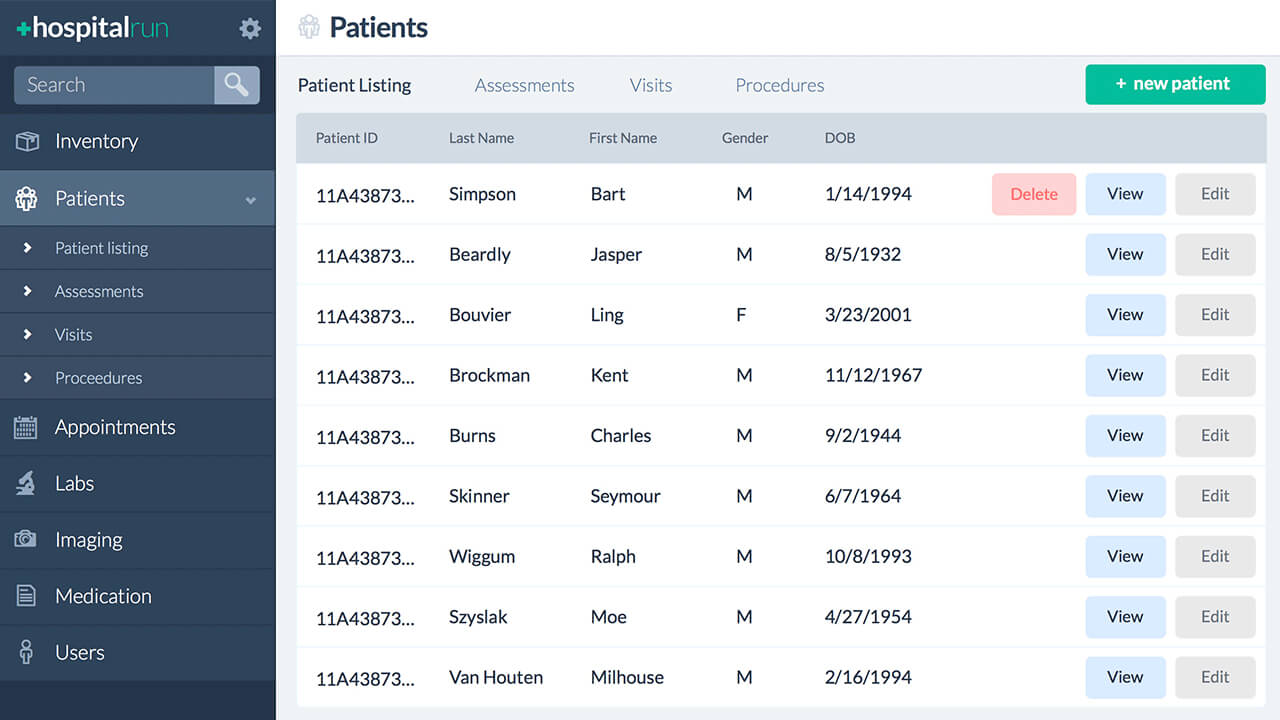 HospitalRun patient dashboard