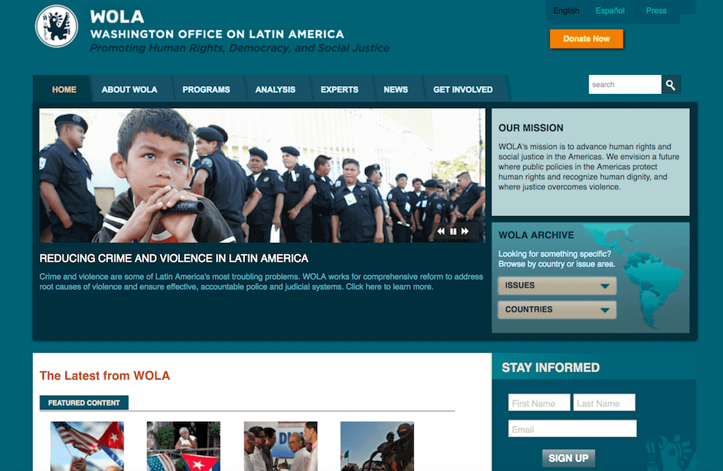 A screenshot of WOLA's old website homepage