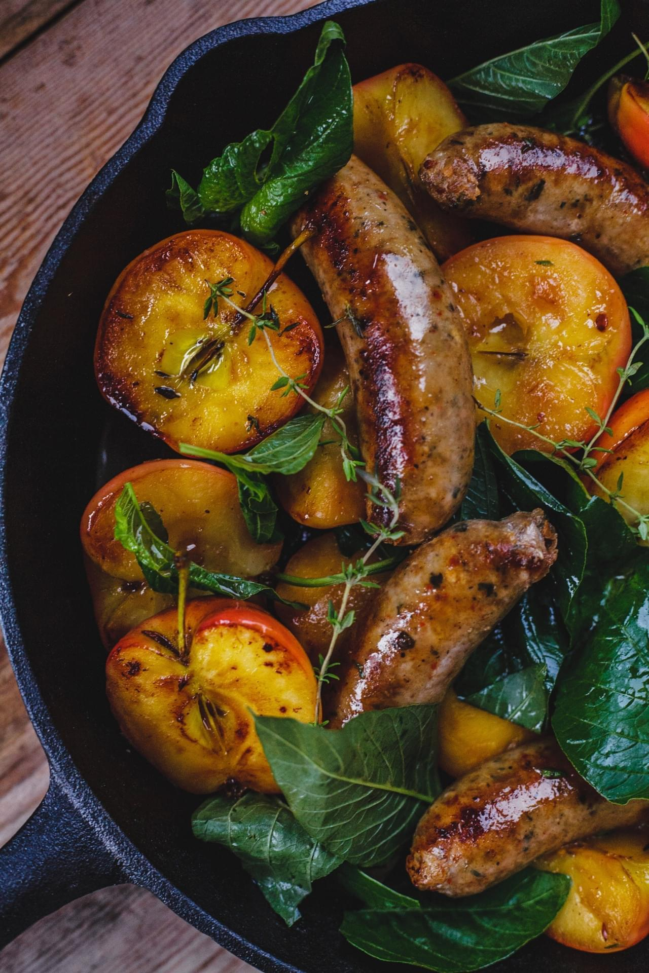 Pan Seared Sausages, Apples With Honey And Greens