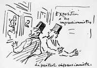 A caricature by the Charles Amédée de Noé, known as Cham on the first impressionist exhibition in 1874