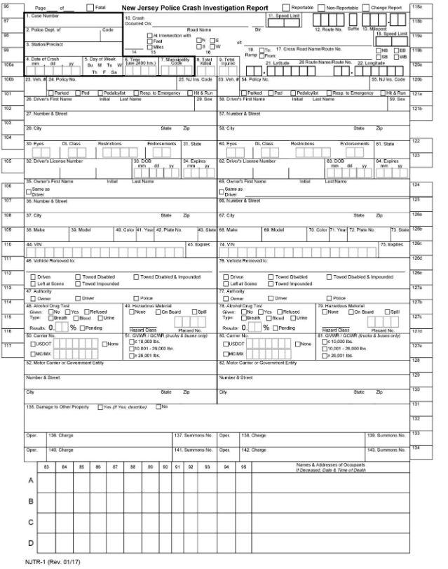 An NJTR-1 form