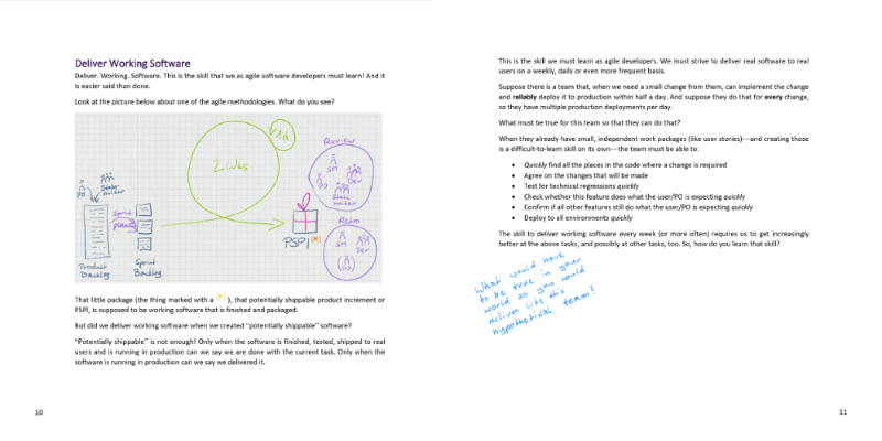 Two pages from the book: Chapter deliver working software