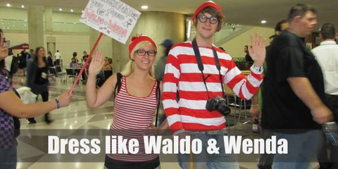 Finding the perfect Waldo-Wenda costume combo is easier than finding this elusive couple. All you would need is white and red striped sweaters and bobbled hats. For Wenda, a blue denim skirt with long tube socks matching the sweater and for Waldo: blue jeans. Both Waldo and Wenda wear brown loafers.