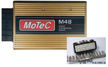 Gold-colored metal box labeled MoTeC M48