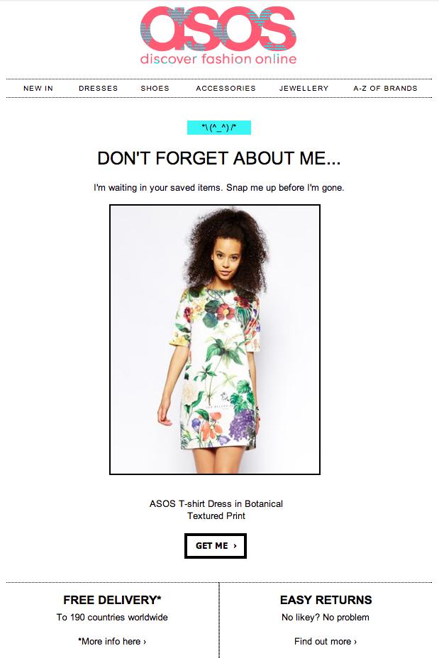 Asos reminder email