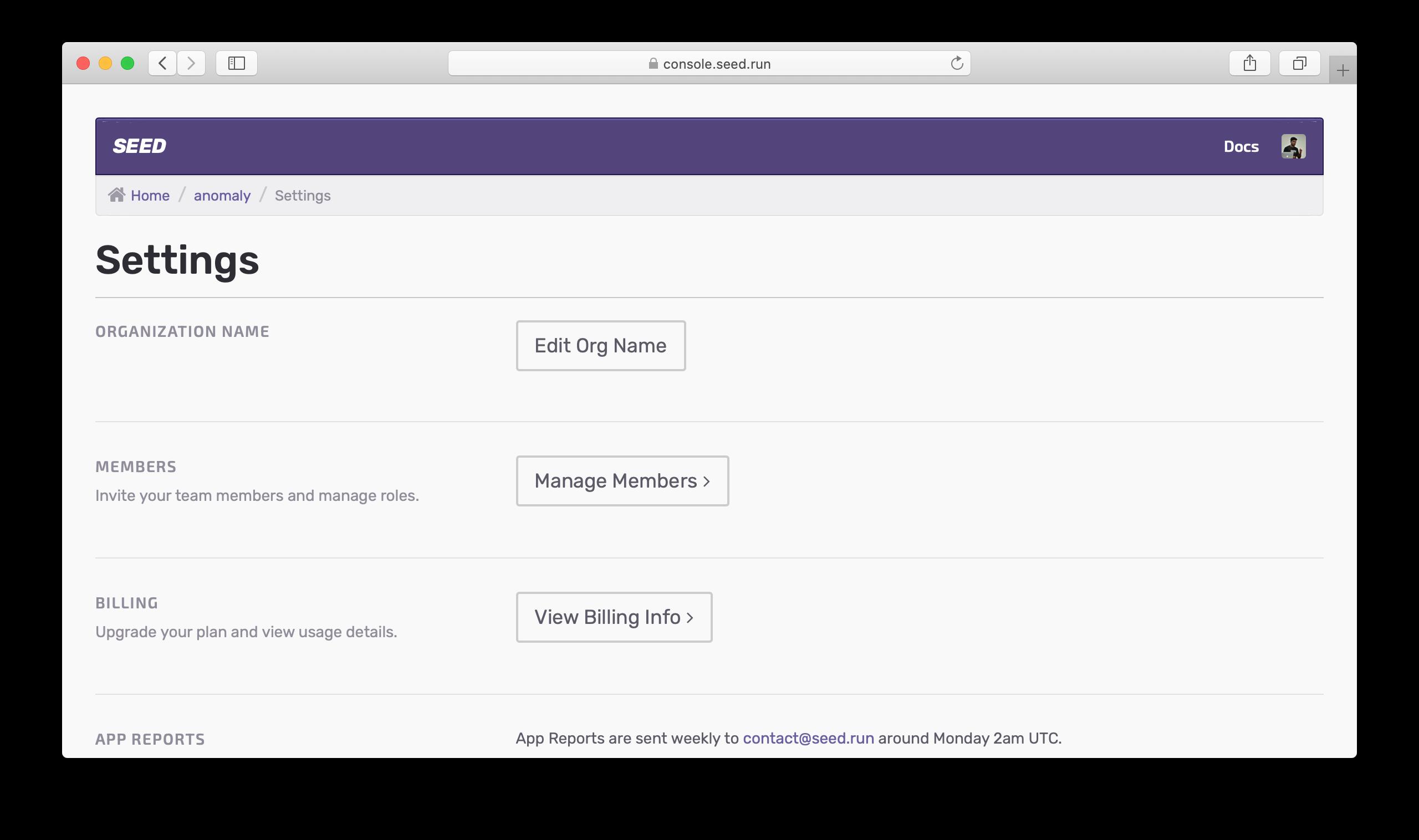 Organization settings on Seed