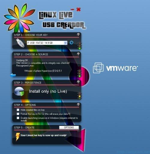 VMware ESXi 5.1 USB install - Linux Live USB Creator