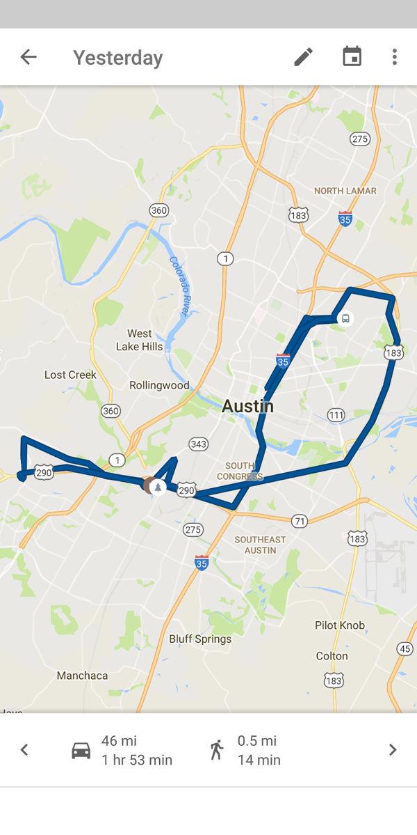 Map of my activity around Austin stored on Google's servers