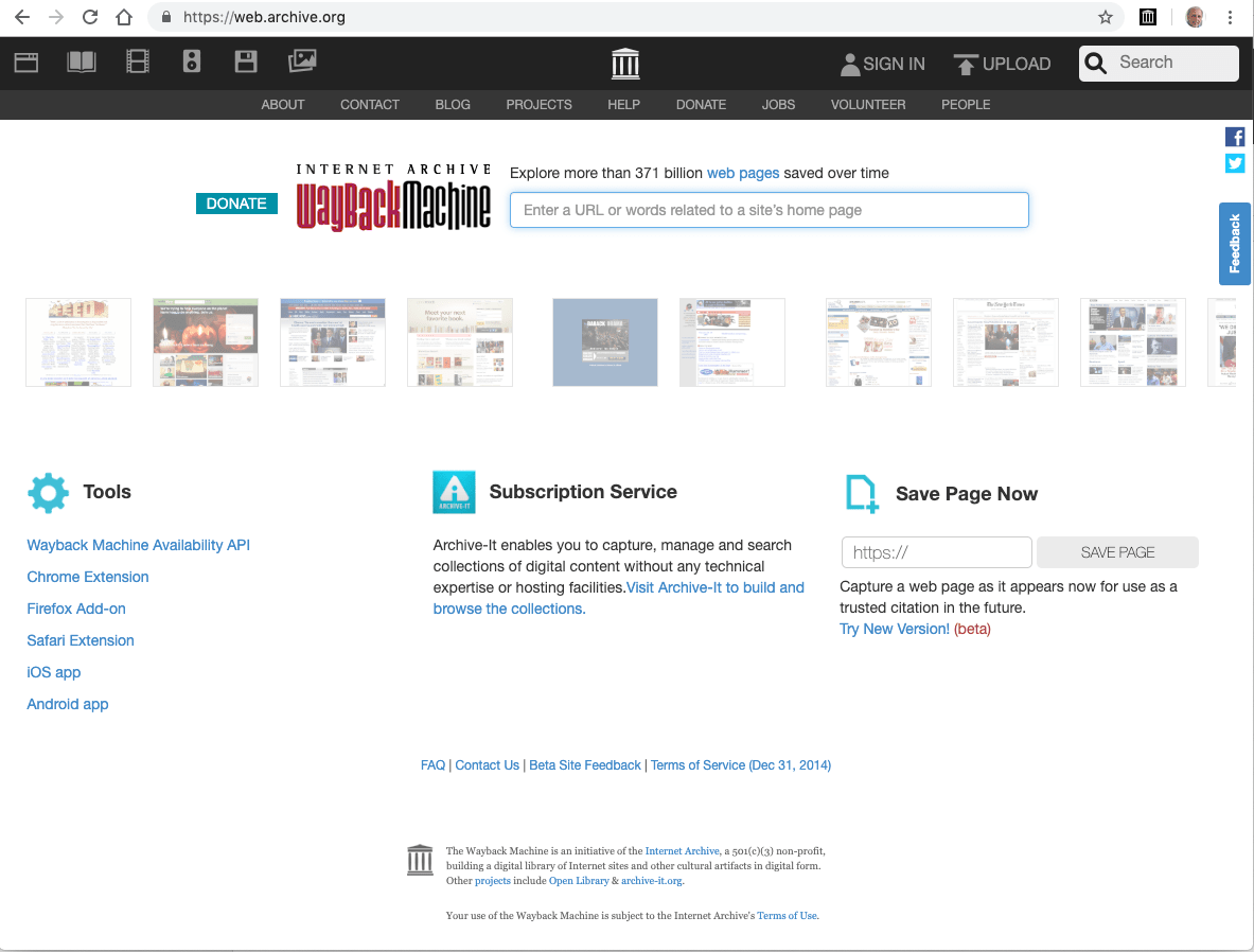 Start page of the Wayback Machine, a service by the Internet Archive